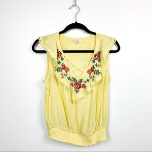 E & M Yellow Tank Top with Floral Embroidery